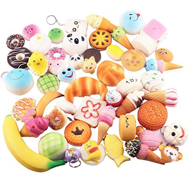 Wholesale 30pcs Squishy Toys Children Slow Rising Anti stress Toy Animal Panda Bread Cake Relief Funny Kids Gift