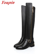 Woman Belt Buckle Knee high Boots Winter Short Plush Genuine Leather Thick With Long Boots Plus