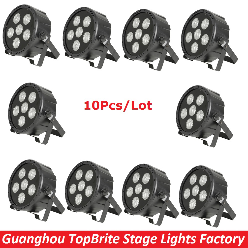 10Pack Carton Package 6X30W RGBW 4IN1 LED Flat Par Lights COB 150W High Brightness Stage Par Lights With Remote Control 110-240V