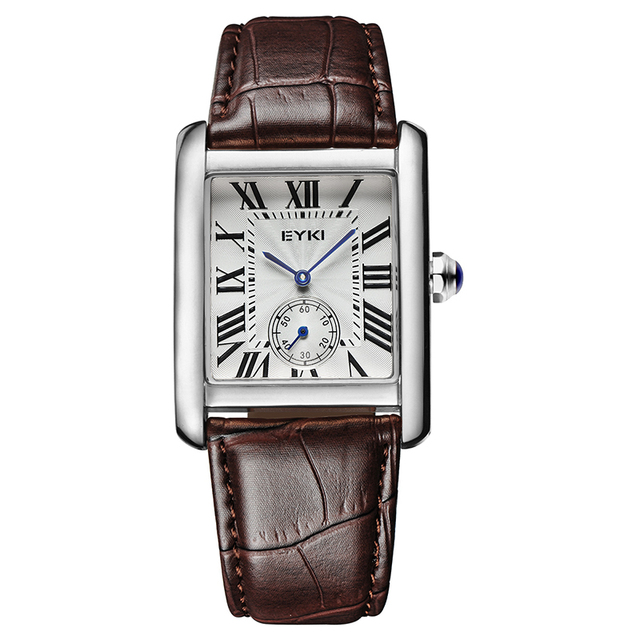 2016 Nova Marca de Luxo Eyki Quartzo Tabelas Casal Pulseira de Couro Formais Praça Dial Relógios Amantes Assistir Relógio de Presente do Negócio À Prova D' Água