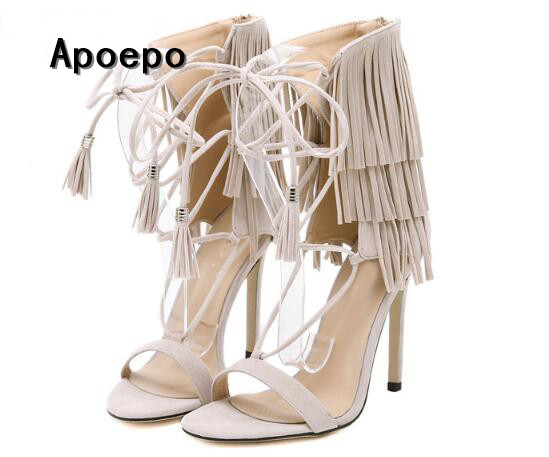 Summer hot selling fringed lace-up sandal 2017 sexy open toe gladiator sandal woman cutouts high heel sandal beige black brown hot selling black leather sandal high heel summer open toe chains decorations gladiator sandal woman cutouts thin heels shoes