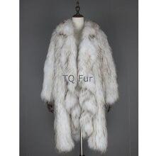Зимнее женское пальто вязаное из меха енота длинное женская