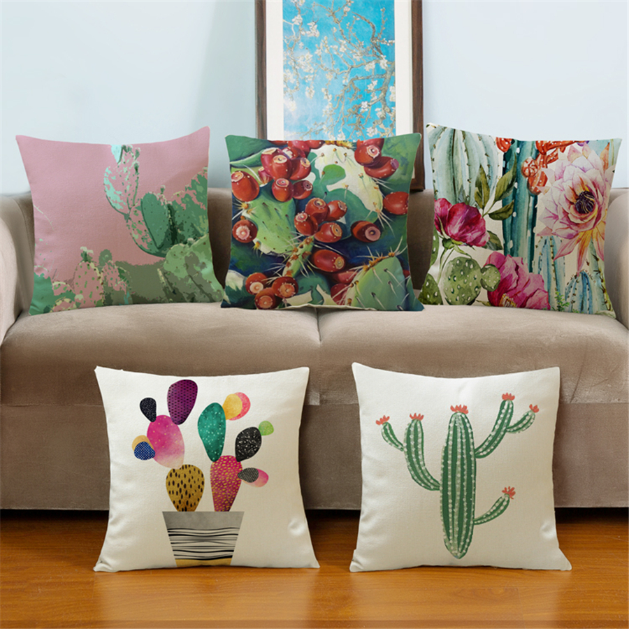 sofa throw pillows housse de coussin car styling pouf tropical cactus vintage decorative cushion. Black Bedroom Furniture Sets. Home Design Ideas