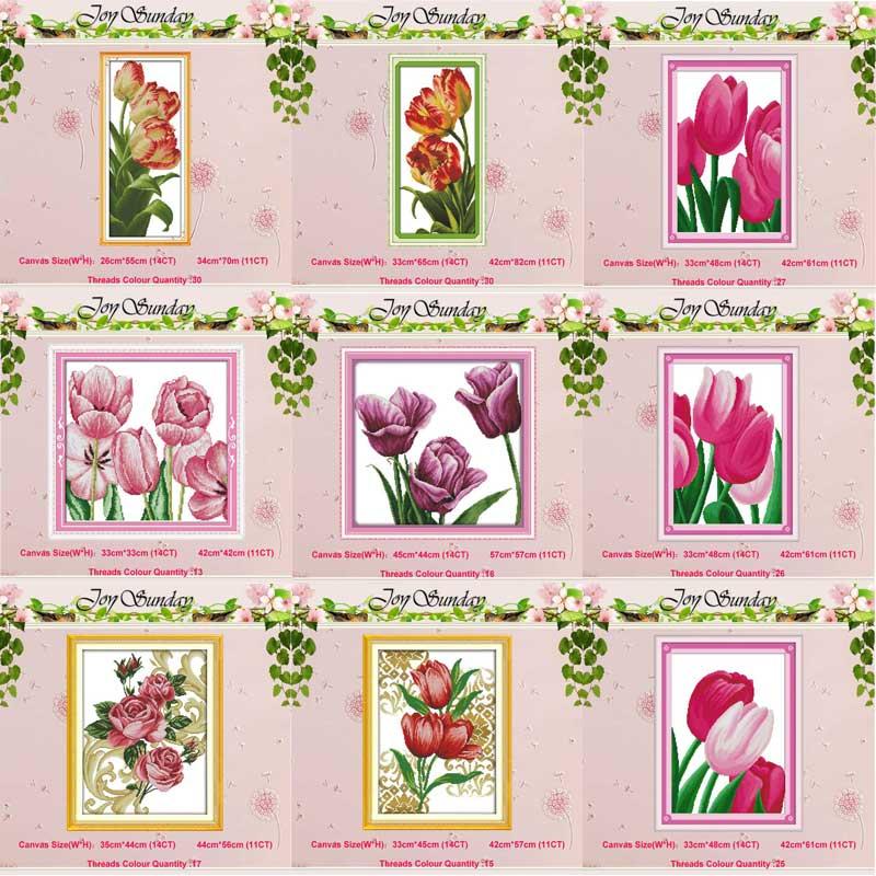 The spirit of flowers 3 Joy Sunday Cross Stitch Kit 14CT Stamped Embroidery Kits Precise Printed Needlework 18/×35CM
