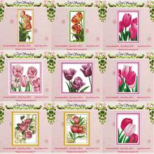 Tulip Flower counted Cross Stitch 11CT 14CT Cross Stitch Set Wholesale DIY Chinese Cross-stitch Kit Embroidery Needlework red rose on the table painting counted 11ct 14ct cross stitch wholesale diy cross stitch kit embroidery needlework home decor