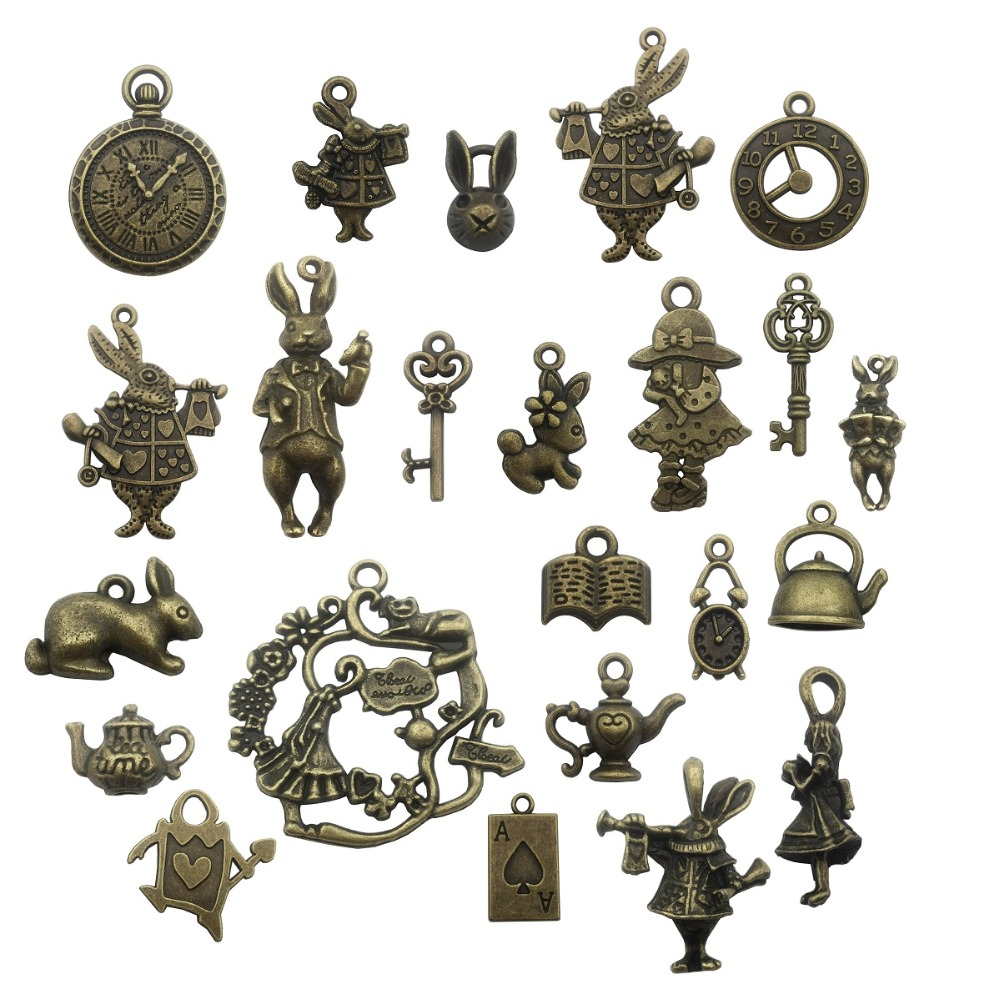 40 pcs Retro Bronze Alloy Daily Clothes Dress Pendant Charms Jewelry DIY Crafts