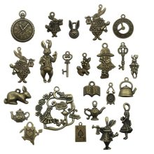Mix 20/40pcs of Alice Rabbit Charms Bronze Silver Alice in Wonderland Charm Pendants, Clock ,Key,Teapot(China)