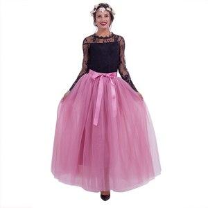 Image 1 - 7 Layers Maxi Long Women Skirts Ladies Tulle Skirt Ankle length Apparel Wedding Ball Gown Faldas Lotita Jupe Saia Longa