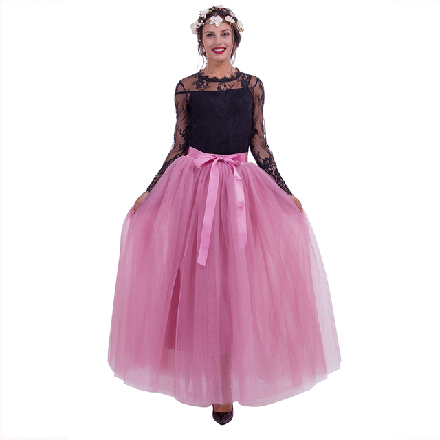 7 Layers Maxi Long Women Skirts Ladies Tulle Skirt Ankle length Apparel Wedding Ball Gown Faldas Lotita Jupe Saia Longa