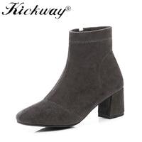 Kickway Winter casual Women pumps warm Ankle Boots Waterproof high heels Women Snow Martin Boots shoes women Botas plus size 43