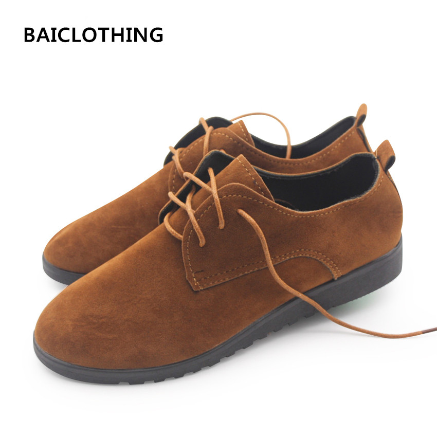 BAICLOTHING women fashion spring and summer lace up shoes lady leisure flat shoes female casual brown&black shoes zapatos mujer baiclothing women casual pointed toe flat shoes lady cool spring pu leather flats female white office shoes sapatos femininos