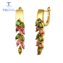 TBJ,colorful 4.2ct natural brazil tourmaline clasp earring 925 sterling silver gold fine jewelry for lady wife party nice gift