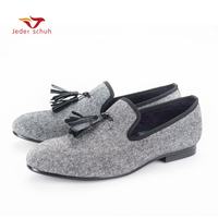 Classic Tassels Handmade Tweed In Interwoven Grey And Black Men Loafers Britain Style Men Casual Shoes