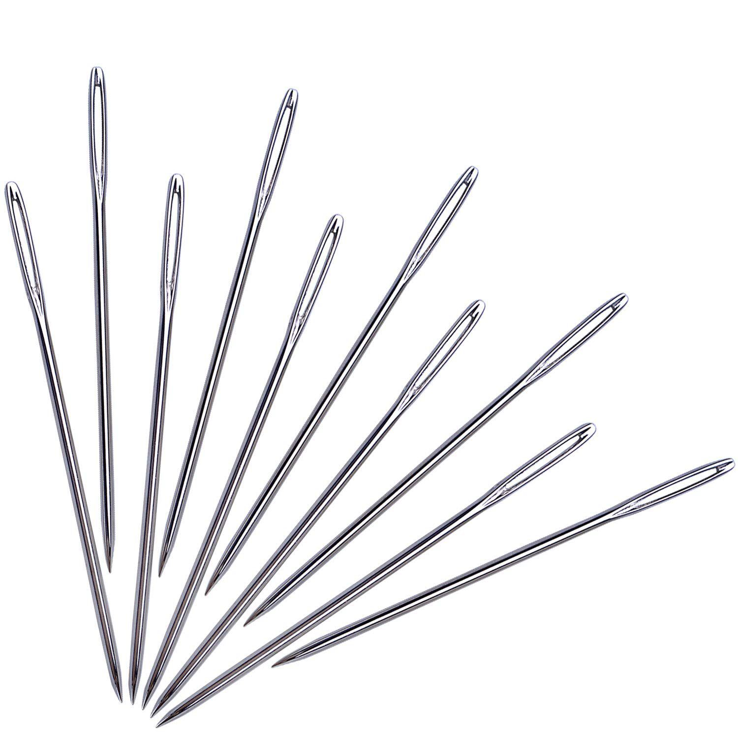 Large-Eye Stitching Needles for Leather Projects with Clear Bottle 7 cm 20 Pieces