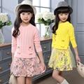 Otoño Invierno Suéter Que Hace Punto de Los Niños de los Bebés Del Tutú de Tul Vestido de Sistema Del Vestido Infantil de La Muchacha de Suéter de Punto Suéter Para Niños 10Y
