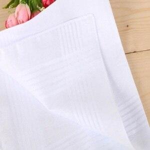 Image 5 - 12 teile/los 100% Baumwolle Solide Weiß Männer Taschentuch Export artikel 40cm * 40cm