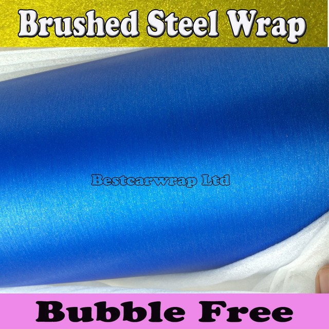 Blue Brushed aluminum Vinyl wrap fahrzeugvollverklebung Metallic Blue  gebürstetem stahl Wrap Folie Mit Air Bubble Kostenlose 1,52*30 Mt/Rolle ...