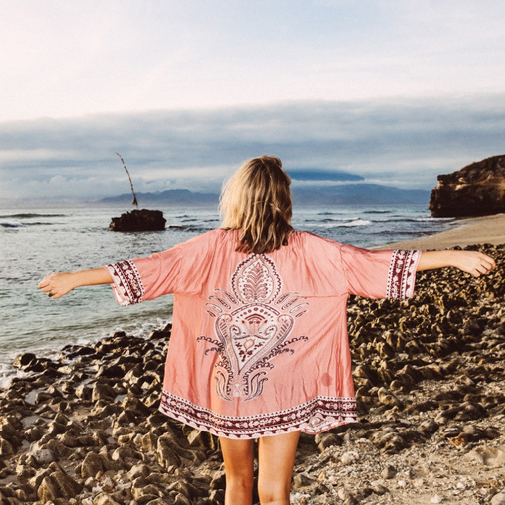 Puseky 2018 Summer Beach Cover Up Floral Bikini Cover Up Swimwear Women Robe De Plage Beach Cardigan Bathing Suit Cover ups