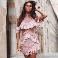 Bamai * Для женщин 2017 розовый взлетно посадочной полосы платье с коротким рукавом Для женщин выдалбливают кисточкой люксовый бренд одежды руч