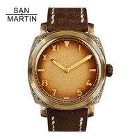 Сан Мартин бронза автоматические часы Винтаж резные наручные часы Swiss ETA2824 часовой механизм 100 м водостойкой Relojes Hombre2018