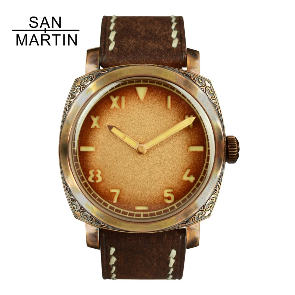 San Martin Bronze Automatic Watch Vintage Carved Wristwatch Swiss ETA2824 Movement Watch 100m Water Resistant Relojes Hombre2018