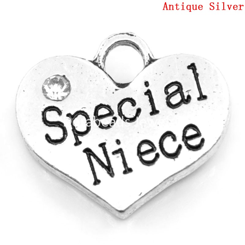 Lovely Charm Pendants Special Niece Heart Antique Silver Clear Rhinestone 16x14mm,20PCs (K00001) ...