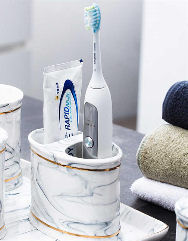 5 sztuk marketingu bezpośredniego światła luksusowa marmurowa łazienka zestaw kosmetyków kubki ceramiczne gospodarstwa domowego łazienka przechowywania dekoracyjne ozdoby