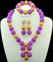 Purple classic wedding in Nigeria gold color jewelry set the bride bridesmaid African bead costume jewelry suit