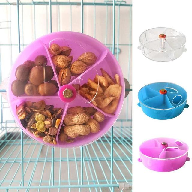 Rotating Acrylic Parrot Feeder Toys Parrots Small Animals Pet Bird Foraging Ball Food Plate Wheel Pendant Cage Decoration