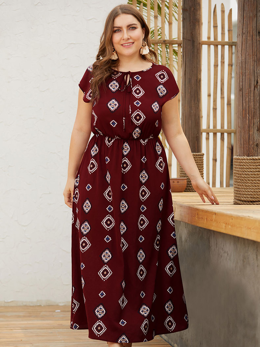 Women Summer Dresses Ethnic Style Boho Beach Wear Plus Size Lace-up Round Neck Short Sleeve High Waist Printed Maxi Dress