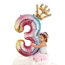 2 шт. 32 дюймов Радуга номер Фольга воздушные шары День рождения украшения для девочек детская юбка с розовыми, розовые, серебристые, золотые, на возраст от 0 до 9 цифр мяч