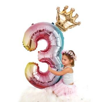 Фольгированные воздушные шары в виде цифр, радужные шары в форме цифр, 2 шт., 32 дюйма, украшение для дня рождения, цвета розового, золотого, роз...