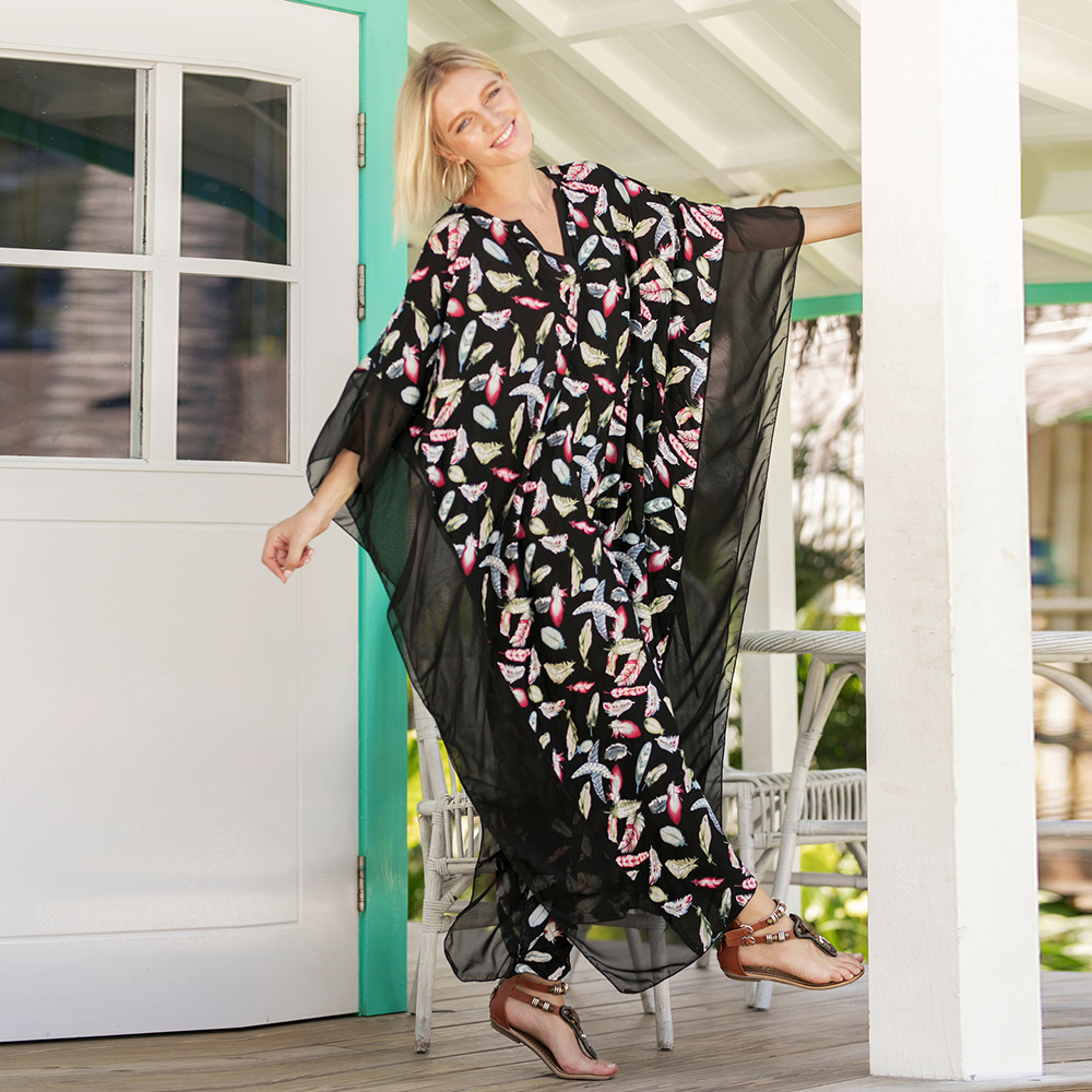 ea5777f6dcaf9 Swimsuit Cover Up Kaftan Beach Dress Tunic Saida De Praia 2018 New Women  Print Acetate Sierra