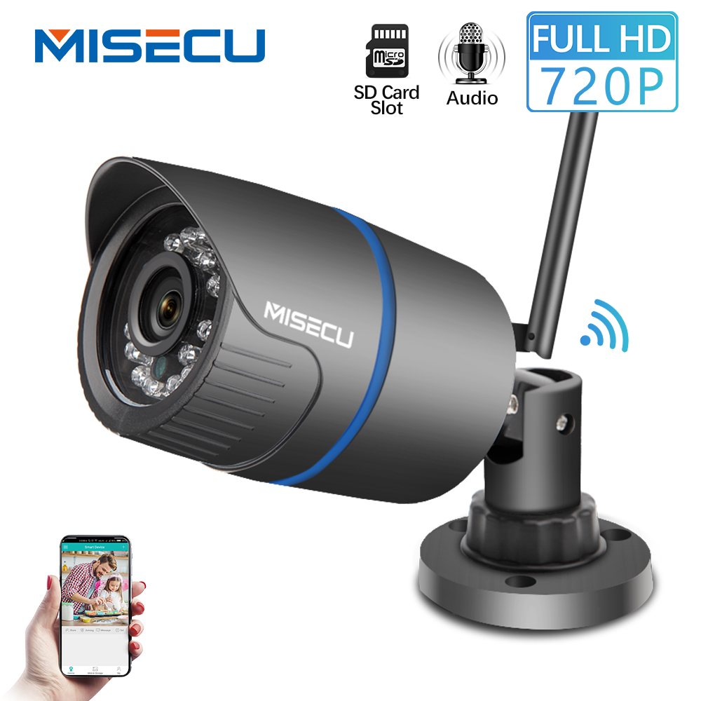 MISECU IP Camera Wifi 720P Audio Record Onvif Wireless Outdoor IP Security Surveillance Bullet Camera Waterproof SD Card Slot