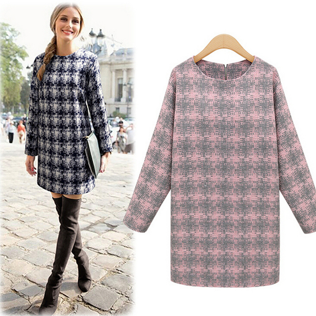 2015 New Fashion Winter women dress round neck long-sleeved plaid was thin loose big yards casual dress women
