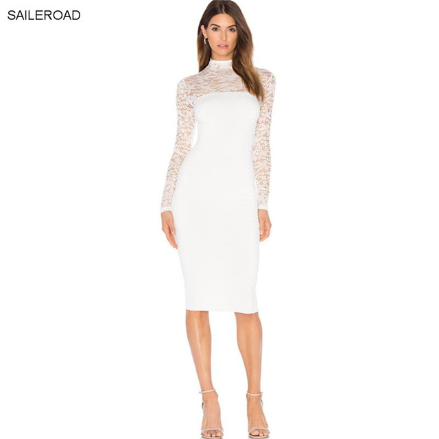 0056c0b85e Spring Autumn Womens Elegant Sexy Hollow Out Lace Dress Evening Party  Bodycon Dress Sheath Fitted Jurk Pencil Office Midi Dress