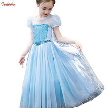 Elsa Dress Kids Cinderella Princess Party Costume With Braid Wand  Cosplay Snow Queen Fantasy Baby Girls Dresses + Cape Vestido