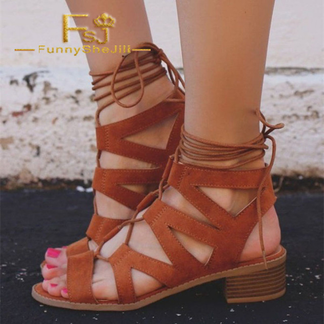 fc757ce51f Brown Low Chunky Heels Back Lace Up Gladiator Lady Open Toe Strappy Women  Sandals Casual Party Evening Elegant Shoes FSJ Sexy 43