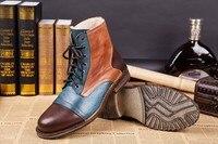 Мужские ботинки в стиле пэчворк из натуральной кожи; Мужская зимняя обувь ручной работы; высококачественные ботильоны; сезон осень зима