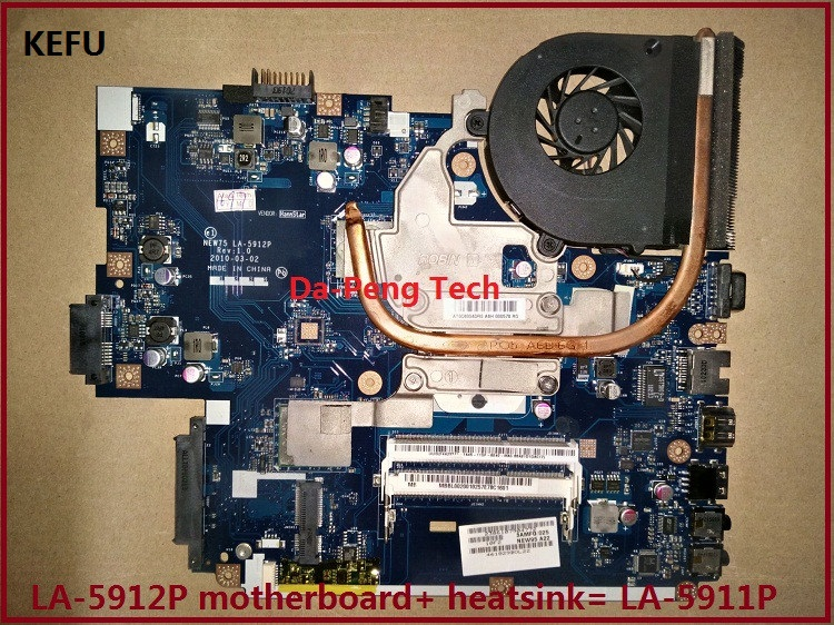 KEFU FOR ACER 5552G 5551G Laptop Motherboard LA-5912P + Heatsink=instead LA-5911P Motherboard DDR3 Perfect Working