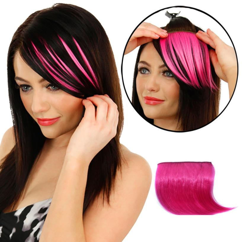 Women Hair Styling Pretty Girls Clip On Clip In Front Hair Bang Fringe Hair Extension Piece Thin 2U1016
