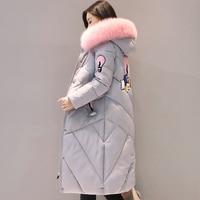 2017 de alta qualidade mulheres de pele gola longo casaco feminino casaco amassado mulheres jaqueta de inverno outerwear parka casaco feminino inverno