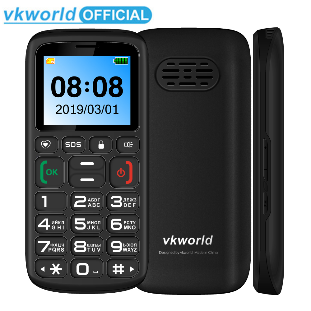 Vkworld Z3 Feature Mobile Phone Senior Kids Mini Phone Russian Keypad 2G GSM Push Big SOS Button Key Cellphone Elderly Dual SIM(China)