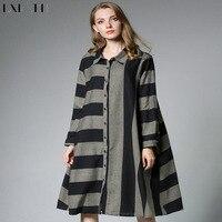 LXMSTH XL 4XL Cotton Loose Striped Shirt Dress Women Autumn Turn Down Collar Long Sleeve Blouse