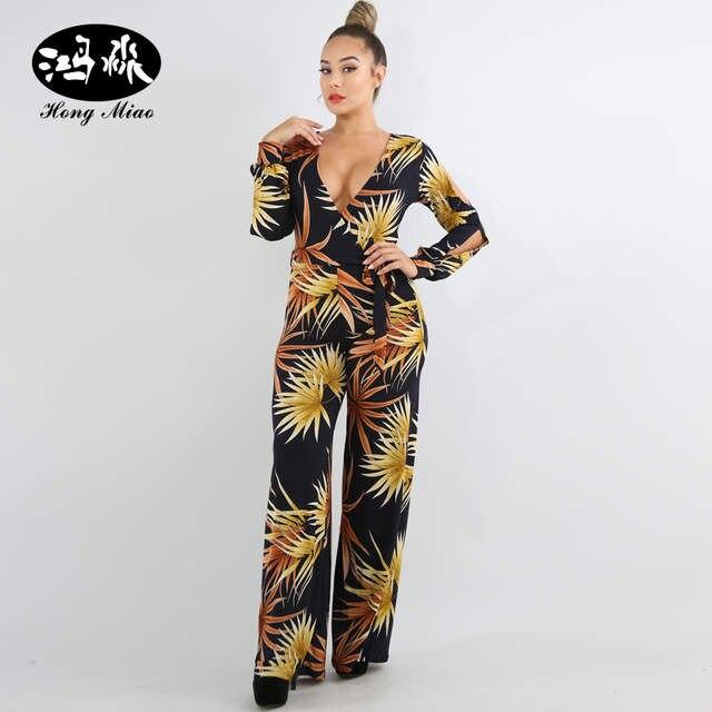 2ec1b4ed56 Online Shop HongMiao Elegant Long Sleeve Jumpsuit Wide Leg Pants One Piece Womens  Rompers Deep V Neck Print Jumpsuit Chiffon Female Jumpsuit