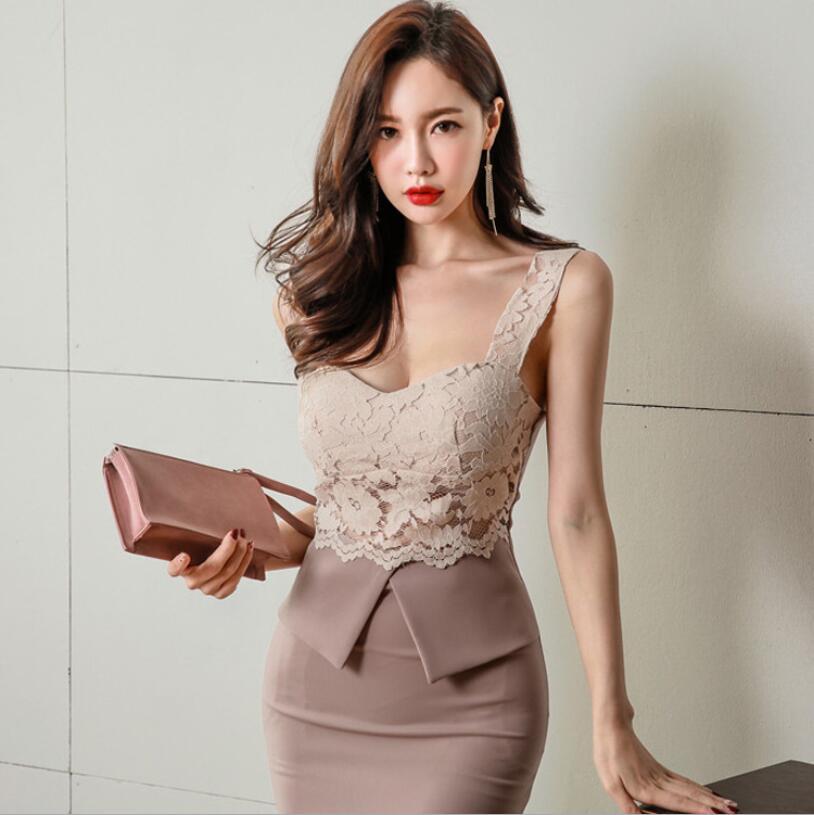 Robe 2018 été nouvelle coréenne dentelle Spaghetti sangle Slim Fit tempérament robe crayon