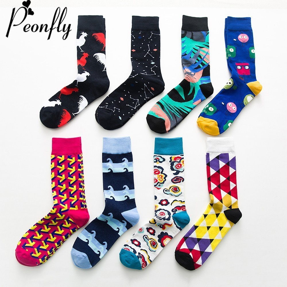 PEONFLY fashion colorful Happy Socks men Newly Cartoon Rooster Cloud Soft Breathable Cotton Short Socks Casual  Funny Socks male