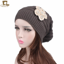 New women slouchy knit chemo hat dreadlock baggy cap knitted beanie with pearled cotton beige flower