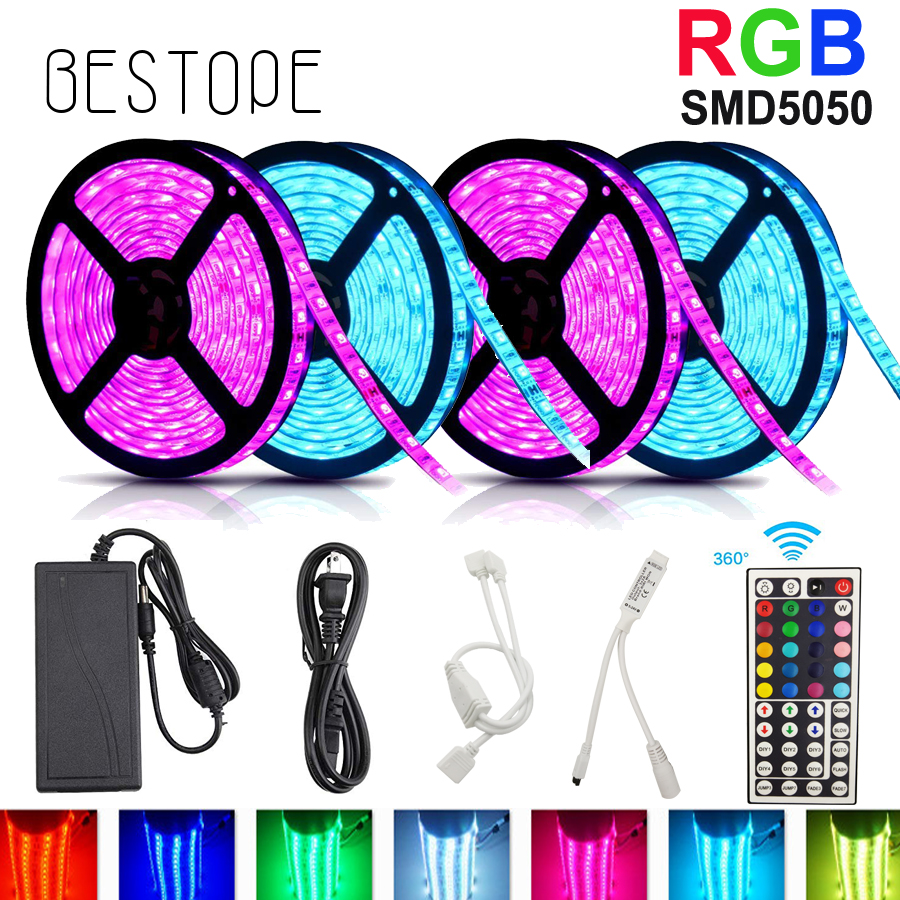 5M 10M RGB Strip Light SMD 5050 LED Strip Tape Waterproof DC 12V RGB 60D/M Flexible ribbon LED Lamps Tape + Controller+adapter 5m 10m rgb led strip 12v 60 leds m smd 2835 waterproof flexible tape ribbon colorful rope light string lamp led controller power