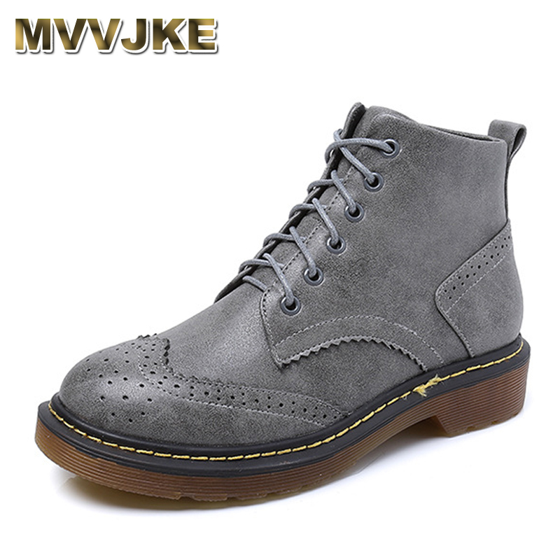 MVVJKE Winter Boots Brand New PU Leather Women's ankle Lace Up Martin Boot short boots motorcycle flat Students Shoes Plus size new fashion black pu leather lace up martin boot woman round toe riding boots designer chain motorcycle short booty